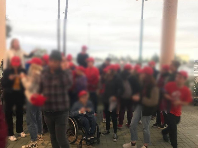 Youth bring treated to an Angels Game