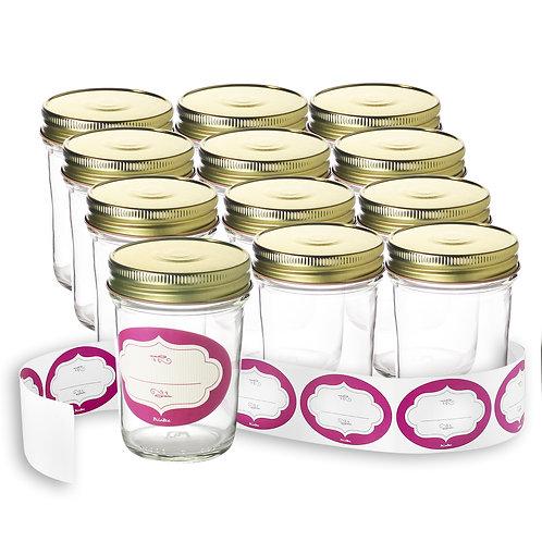 12-Pack of 8 Oz. Glass Jars, Gold Screw-on Lids & Labels