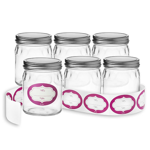 6-Pack of 24 Oz. Glass Jars with Lids & Labels