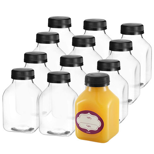 12-Pack, 8-oz. Clear Empty Juice Bottles