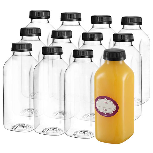 12-Pack, 16 Oz Clear Plastic Juice Bottles with Lids