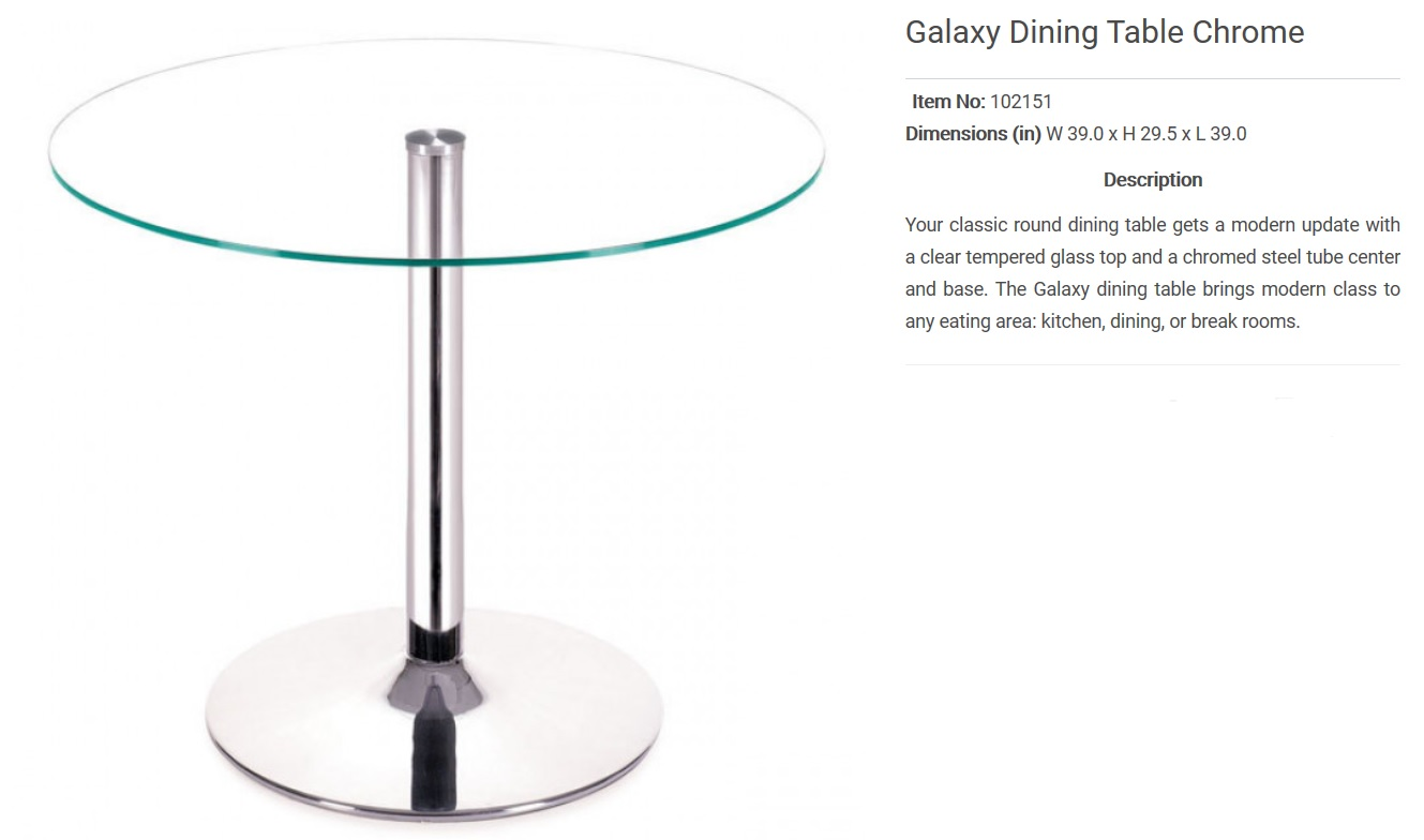 Zuo  Galaxy Chrome Table