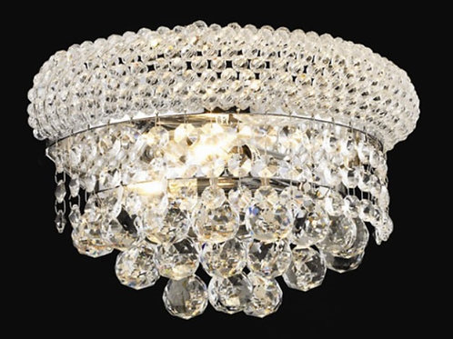 Primo Chrome Two-Light 12-Inch Wall Sconce with Royal Wall Sconce Crystal