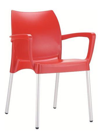 Chaise DOLCE rouge pieds aluminium, coque polypropylène