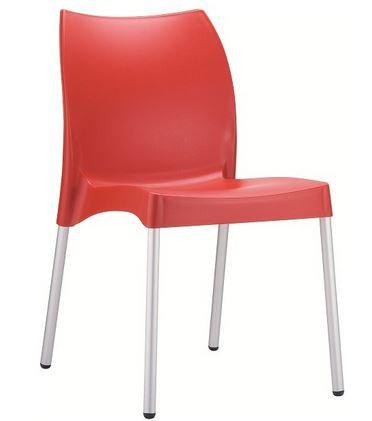 Chaise VITA rouge, pieds aluminium anodisé, coque polypropylène
