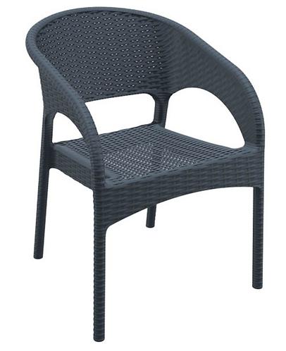 Chaise Panama gris foncée empilable en polypropylène