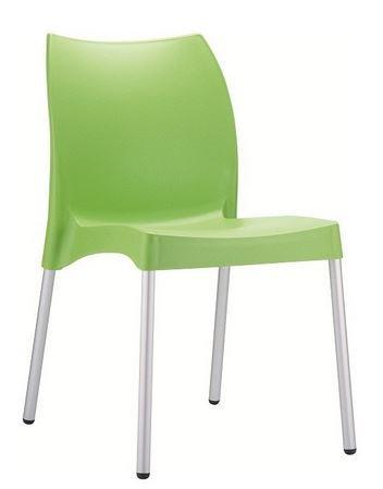 Chaise VITA vert, pieds d'aluminium anodisé, coque polypropylène