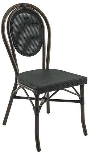 Chaise Paris couleur aluminium bamboo et textiléne noir