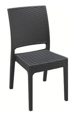 Chaise Jamaica gris foncé empilable en polypropylène