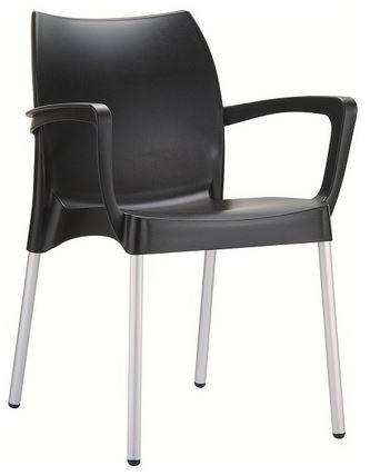 Chaise DOLCE noir pieds aluminium, coque polypropylène