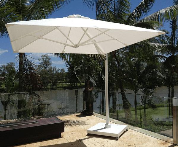 Parasol professionnel  déporté toile acrylique carré 250 x 250 - ECRU