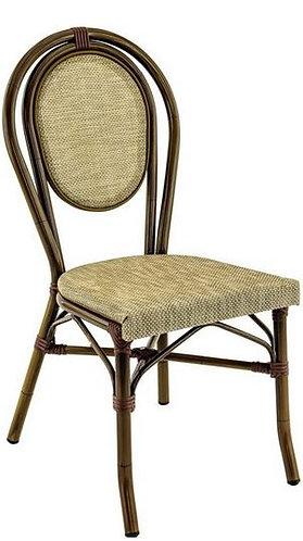 Chaise Paris couleur aluminium bamboo et textiléne havana
