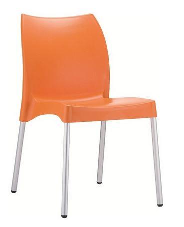 Chaise VITA orange, pieds aluminium anodisé, coque polypropylène