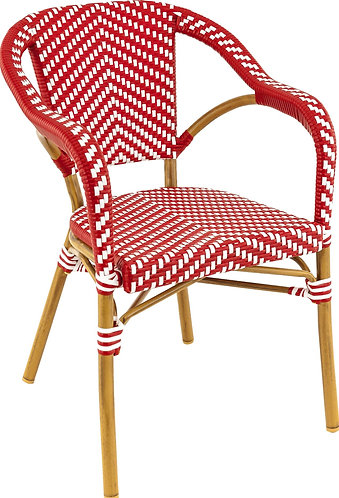 Fauteuil Madeleine rouge/blanc