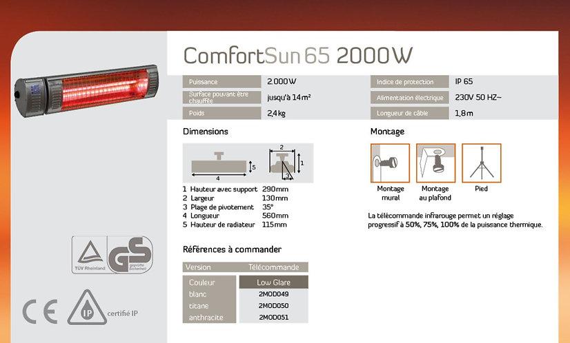 Chauffage Comfortsun 65 2000w