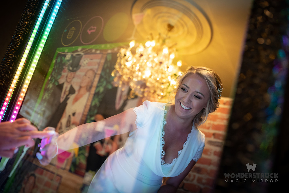 bride using magic mirror in hertfordshire