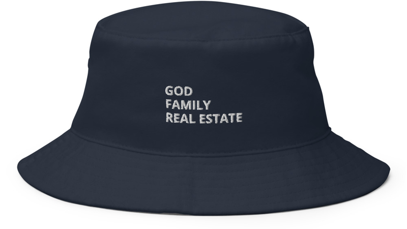 God Family Real Estate Bucket Hat in Navy Blue