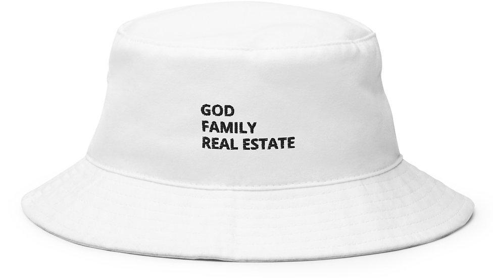 God Family Real Estate Bucket Hat in White