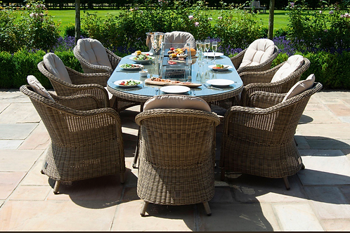 Maze  - Winchester - Heritage 8 Seat Oval Fire pit Dining Set