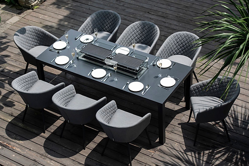 Maze  - Outdoor Fabric Ambition 8 Seat Rectangular Dining Set - With Fire