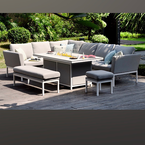 Maze Lounge - Outdoor Fabric Pulse Rectangular Corner Dining Set - With Fire pit