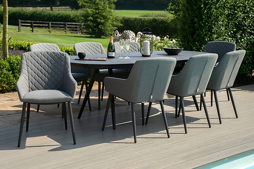 Maze  - Outdoor Fabric Zest 8 Seat Oval Dining Set - Flanelle