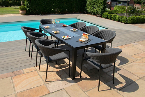 Maze  - Outdoor Fabric Pebble 8 Seat Rectangular Dining Set - With Fire pi