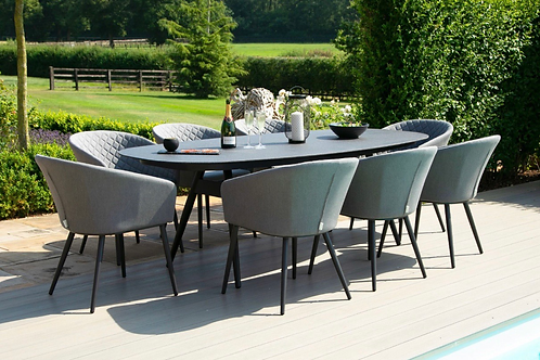 Maze  - Outdoor Fabric Ambition 8 Seat Oval Dining Set - Flanelle