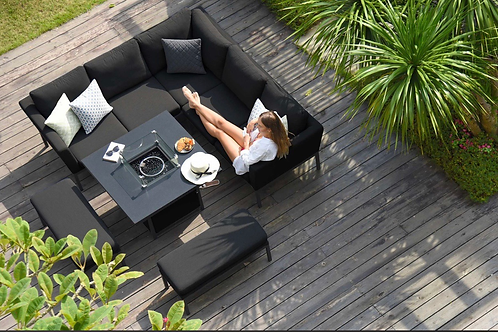 Maze Lounge - Outdoor Fabric Pulse Square Corner Dining Set - With Fire pit Tabl