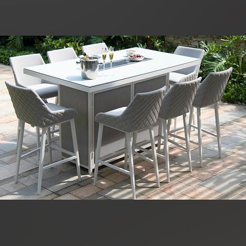 Maze Lounge - Outdoor Fabric Regal 8 Seat Rectangular Bar Set - Fire Pit table