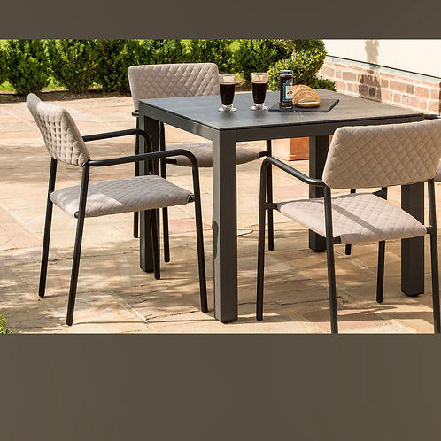 Maze Lounge - Outdoor Fabric Bliss 4 Seat Square Dining Set - Taupe