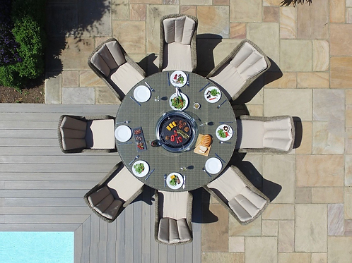 Maze  - Winchester - Venice 8 Seat Round Fire pit Dining Set - With Lazy S
