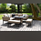 Thumbnail: Maze Lounge - Outdoor Fabric Pulse Square Corner Dining Set - With Fire pit Tabl