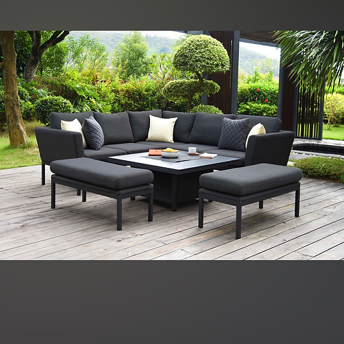 Maze Lounge - Outdoor Fabric Pulse Square Corner Dining Set - With Rising Table