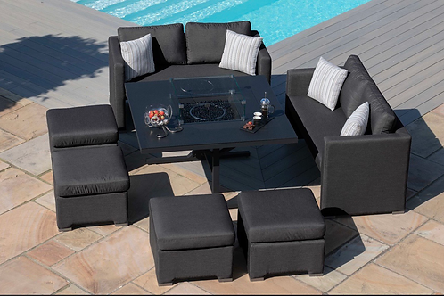 Maze Lounge - Outdoor Fabric Fuzion Cube Sofa Set - With Fire pit
