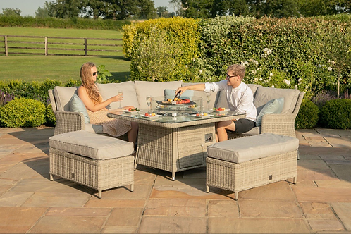 PRE ORDER Maze  - Oxford Royal Corner Dining Sofa Set - With Fire pit Table