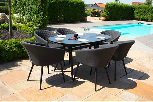 Maze  - Outdoor Fabric Ambition 6 Seat Oval Dining Set - Charcoal