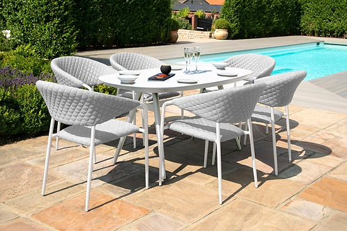 Maze  - Outdoor Fabric Pebble 6 Seat Oval Dining Set - Lead Chine