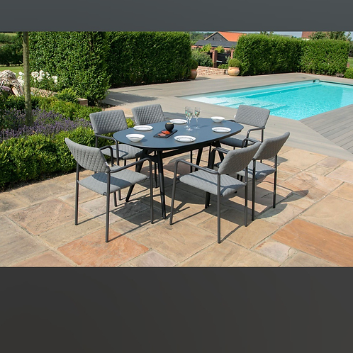 Maze Lounge - Outdoor Fabric Bliss 6 Seat Oval Dining Set