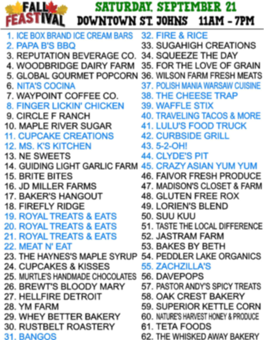 FEASTIVAL 2019 VENDOR LIST st johns mi e