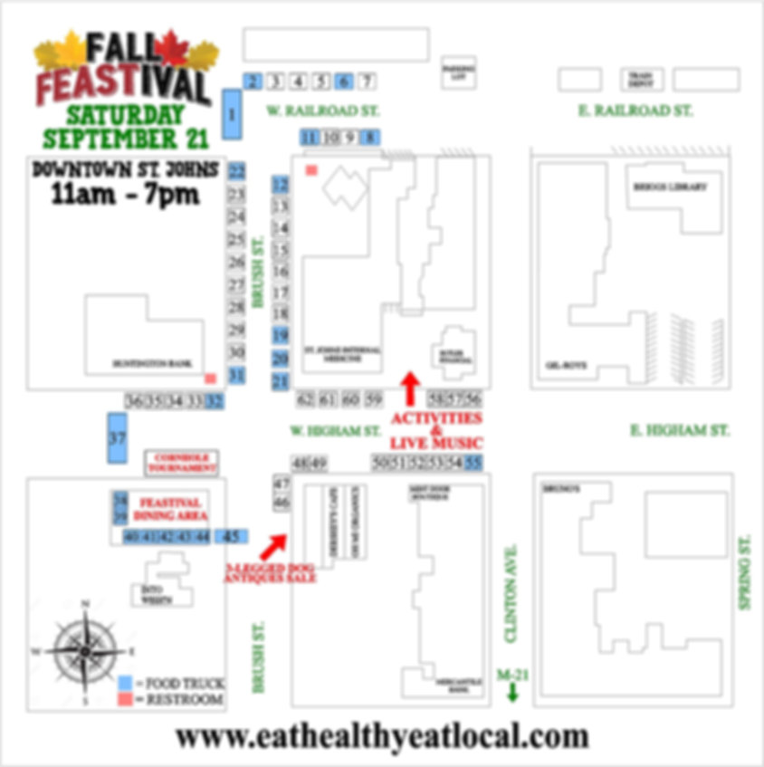 FEASTIVAL 2019 MAP st johns mi eat healt
