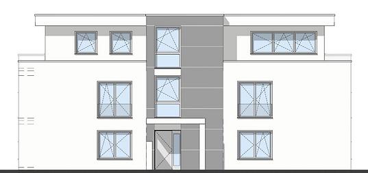 Bau-Art GmbH Witten Hamm Bau von 5 Eigentumswohnungen Bochum-Quereburg Westansicht