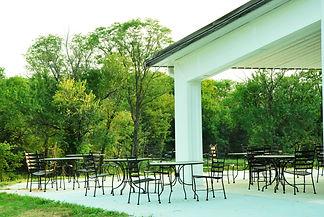 Outdoor patio seating at Kansas City wedding venue