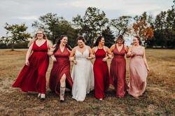 Bridesmaids and bride at Kansas City wedding venue@haleybphotography