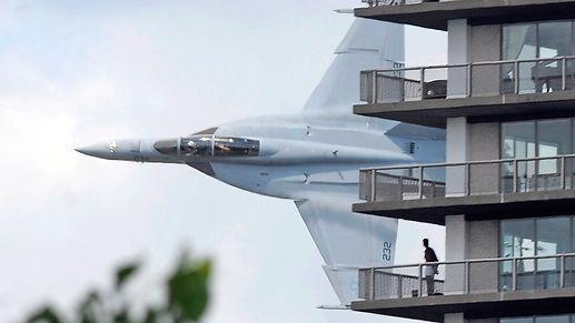 Super Hornet doing low flyby