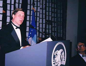 Bill Goss giving speech at Seattle Air and Space Museum