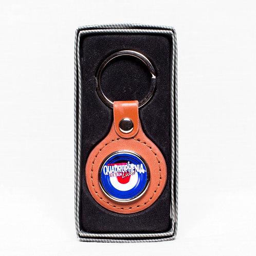 Quad Live! Tan leather key ring