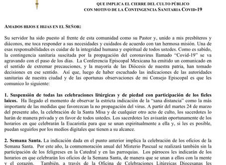 Mensaje Mons. Andrés Vargas Peña