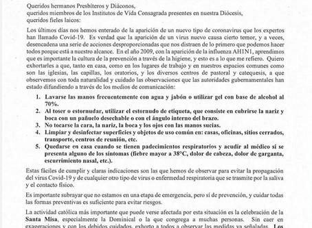 Mensaje y disposición es de nuestro Obispo, ante la posible propagación del virus #COVID2019MX