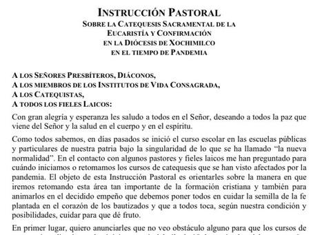 Instrucción Pastoral de nuestro obispo, sobre la catequesis en la Diócesis de Xochimilco.
